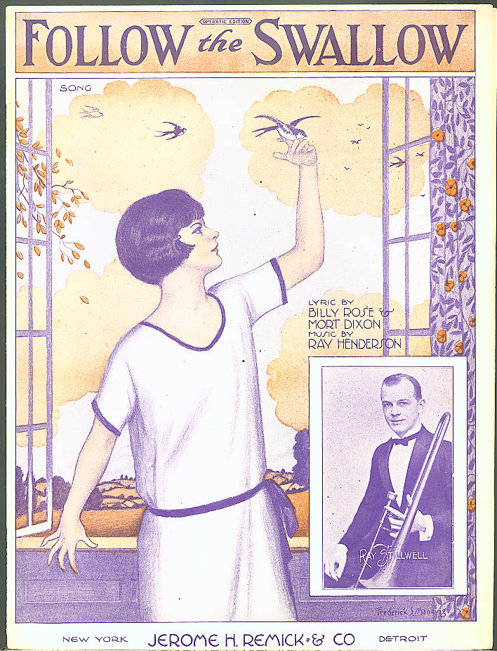 Follow the Swallow pretty girl sheet music 1924