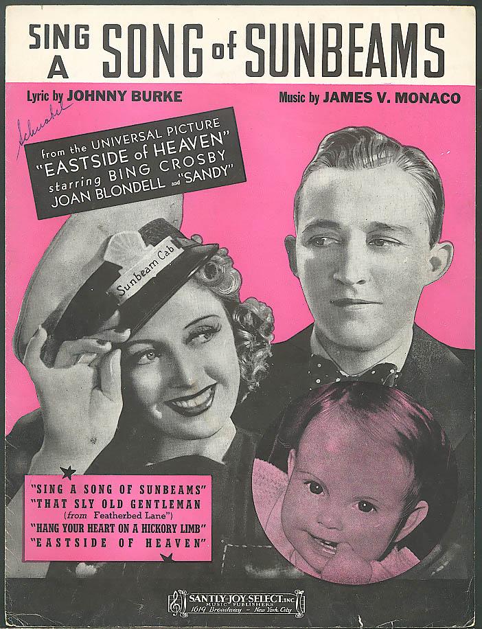 Sing a Song of Sunbeams sheet music Bing Crosby 1939