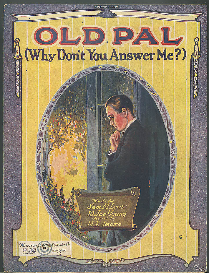Old Pal Why Don't You Answer Me? sheet music 1920
