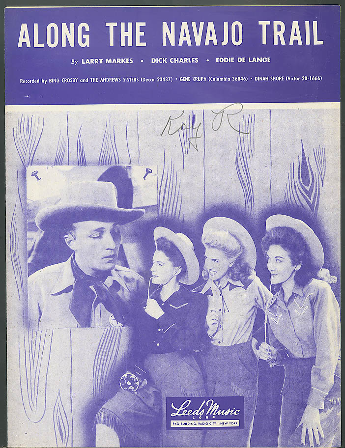 Along the Navajo Trail sheet music Bing Crosby 1945