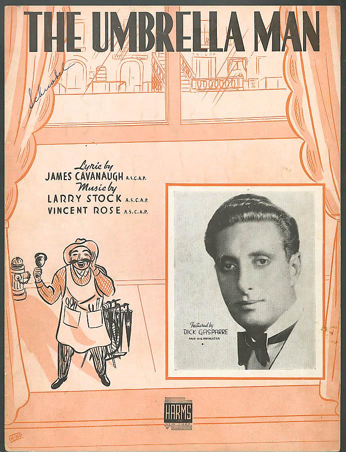 The Umbrella Man sheet music Dick Gasparre 1938