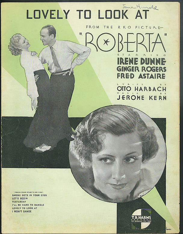 Lovely to Look At sheet music 1935 from Roberta - Astaire Dunne Ginger Rogers