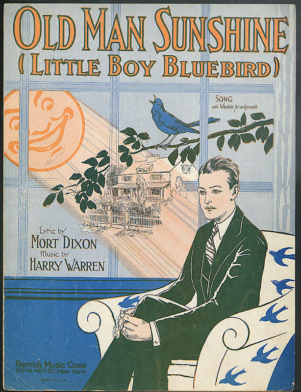 Old Man Sunshine Little Boy Bluebird sheet music 1928 by Dixon & Warren