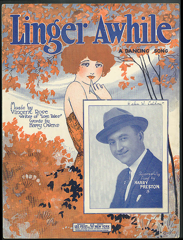 Linger Awhile sheet music 1923 by Rose & Evans pretty girl
