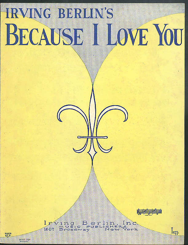 Irving Berlin's Because I Love You sheet music 1926 Leff art