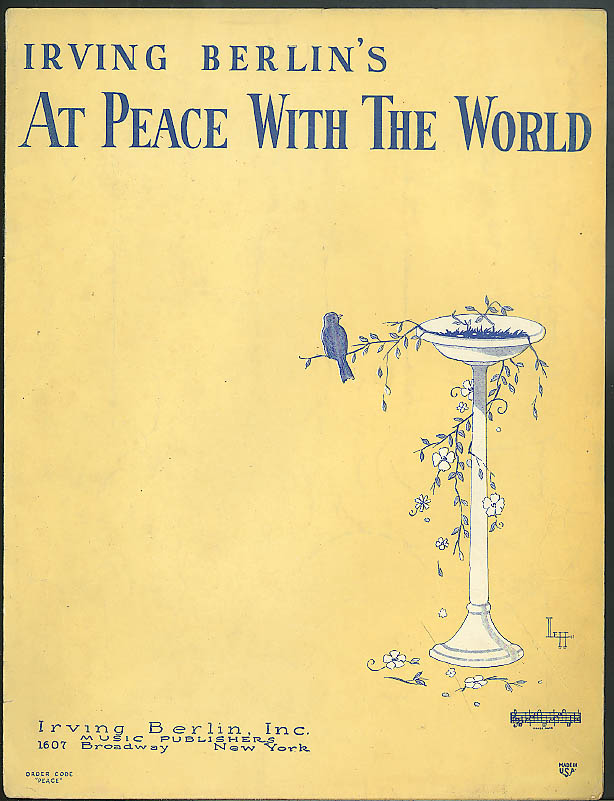 Irving Berlin's At Peace With The World sheet music 1926 Leff art