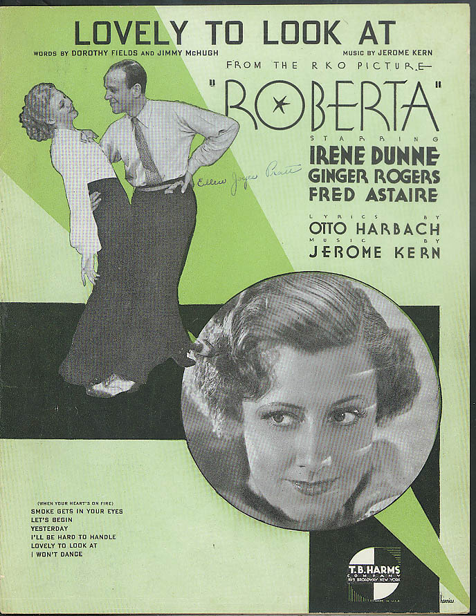 Lovely to Look At sheet music 1935 Roberta w/ Astaire Dunne & Ginger Rogers