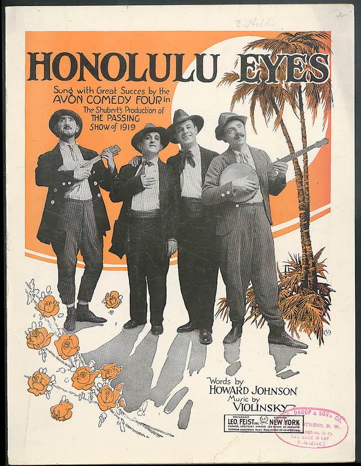 Honolulu Eyes sheet music 1931 Avon Comedy Four Passing Show of 1919