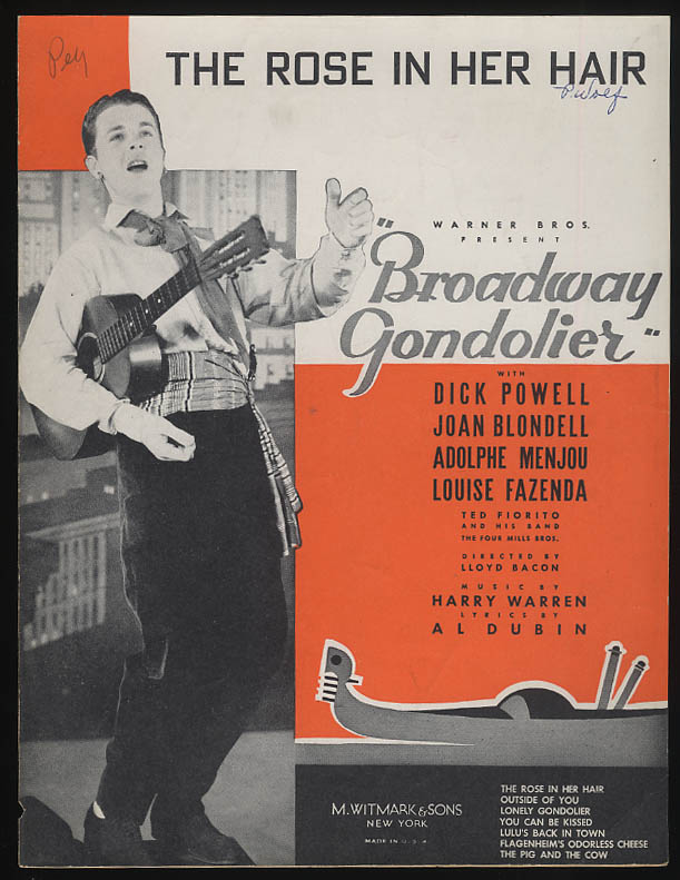 The Rose in Her Hair sheet music 1935 from Broadway Gondolier Dick Powell