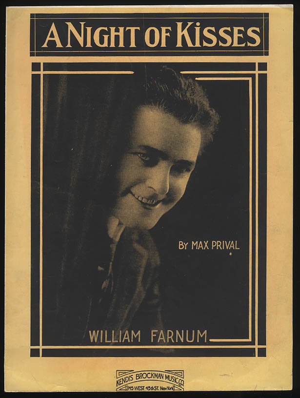 A Night of Kisses sheet music 1919 by Max Prival featured by William Farnum