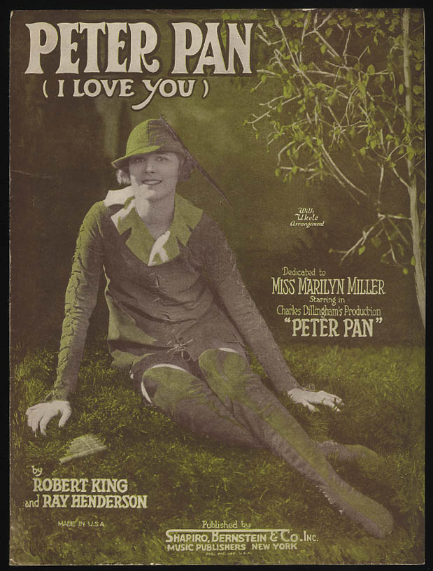 Peter Pan (I Love You) sheet music 1924 Marilyn Miller as Peter Pan