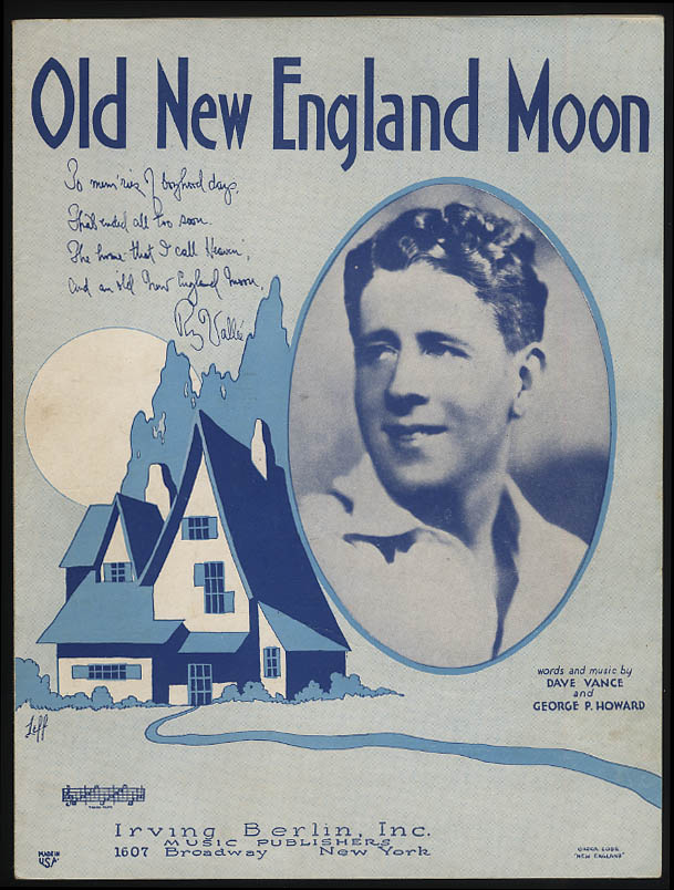 Old New England Moon sheet music 1930 Rudy Vallee; Leff art