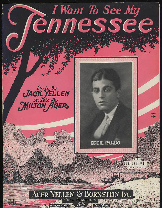 I Want to See My Tennessee sheet music featured by Eddie Pardo 1924 Barbelle art