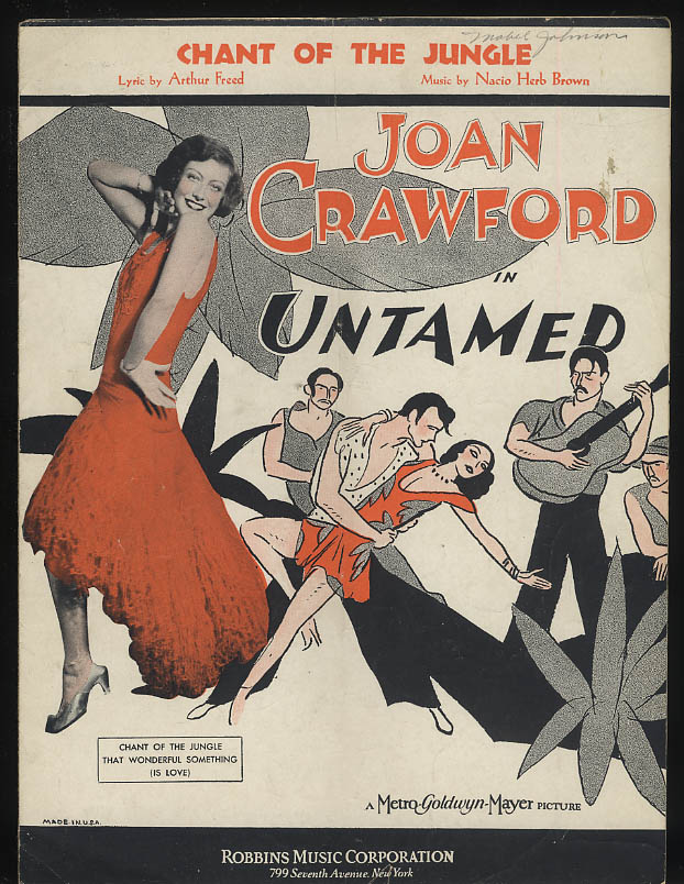 Chant of the Jungle sheet music from Untamed; Joan Crawford 1929