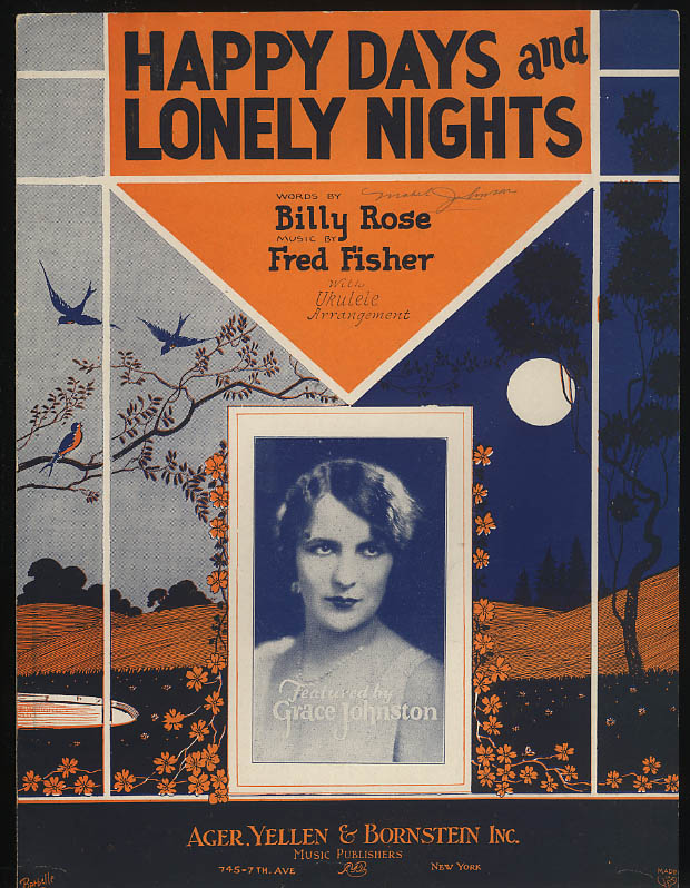 Happy Days & Lonely Nights sheet music Grace Johnston Billy Rose 1928