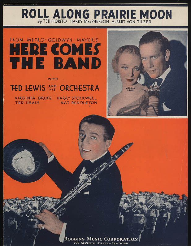 Roll Along Prairie Moon sheet music Here Comes the Band Ted Lewis 1935