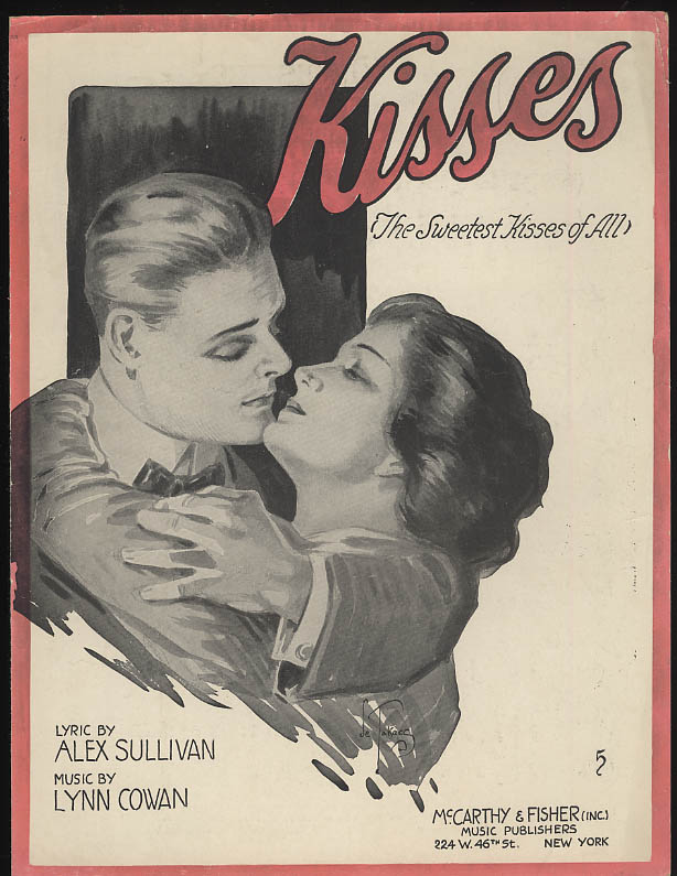 Kisses sheet music 1918 Sullivan & Cowan; Andrea de Takacs art