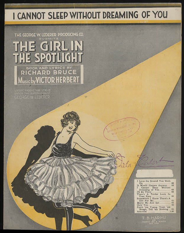 I Cannot Sleep Without Dreaming of You sheet music Girl in the Spotlight 1920