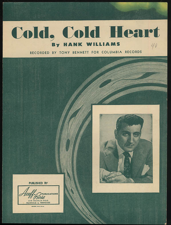 Cold Cold Heart sheet music by Hank Williams; Tony Bennett