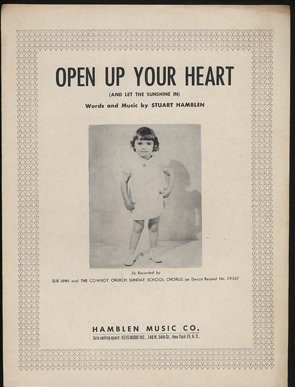 Open Up Your Heart sheet music Sue Ann & Cowboy Church Sunday School 1953