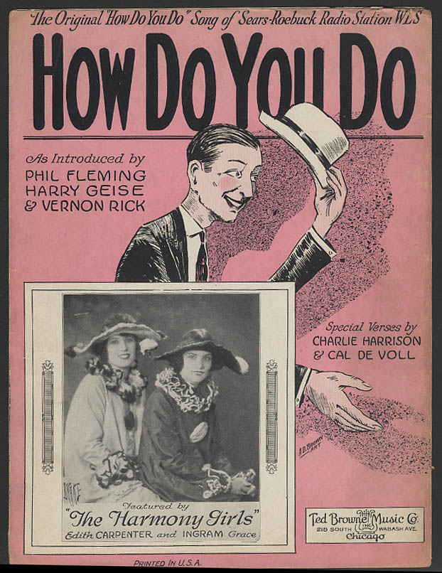 How Do You Do sheet music The Harmony Girls 1924 Sears Roebuck Radio WLS