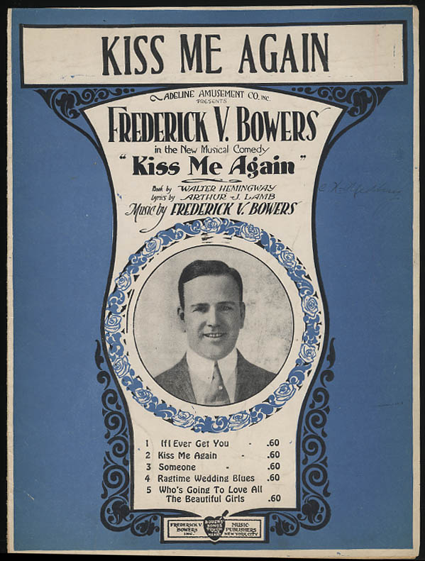 Kiss Me Again sheet music Frederick V Bowers 1919