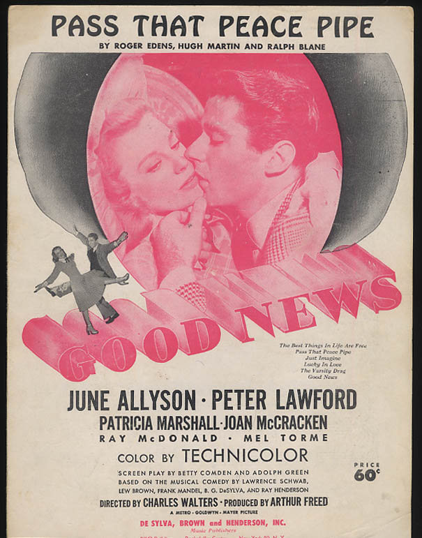 Pass That Peace Pipe movie sheet music Good News June Allyson Peter Lawford 1947