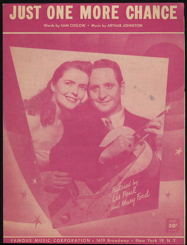 Just One More Chance sheet music Les Paul & Mary Ford 1950s