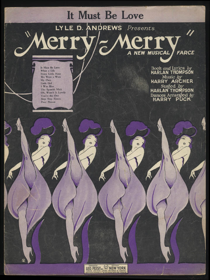 It Must Be Love sheet music 1925 from Merry-Merry A Musical Farce