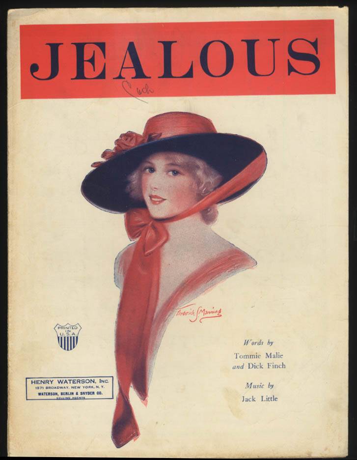 Malie, Finch & Little: Jealous sheet music 1924 Frederick S Manning pretty girl