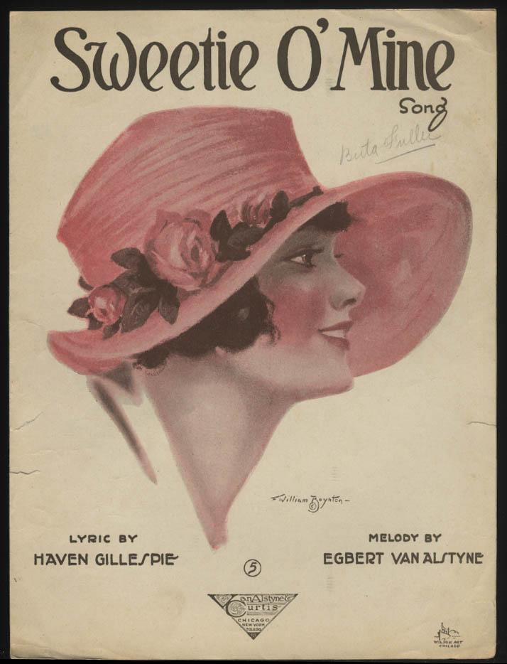 Gillespie & Van Alstyne: Sweetie O' Mine sheet music 1920 Boynton pretty girl