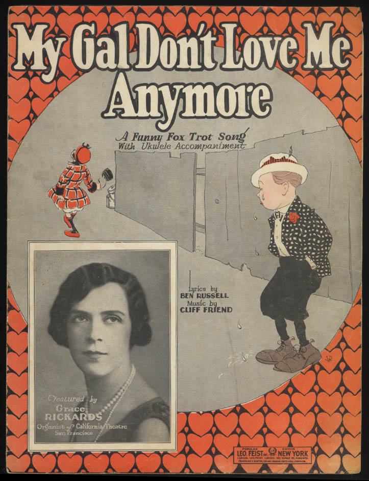 Russell & Friend: My Gal Don't Love Me Anymore sheet music 1924