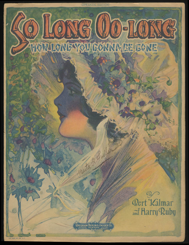 Kalmar & Ruby: So Long Oo-Long sheet music 1920 pretty girl art