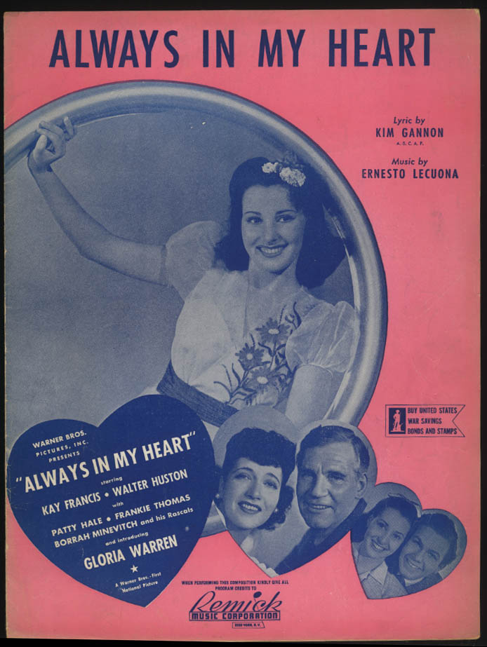 Gannon & Lecuona: Always In My Heart sheet music 1942 Kay Francis