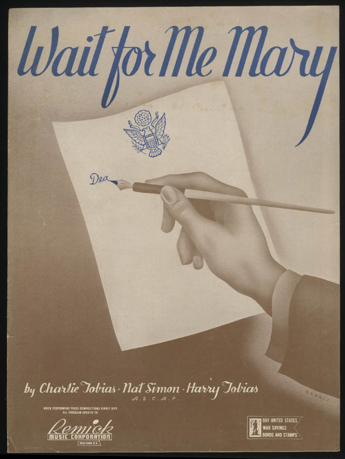 Tobias, Simon & Tobias: Wait for Me Mary sheet music 1942 soldier writes home