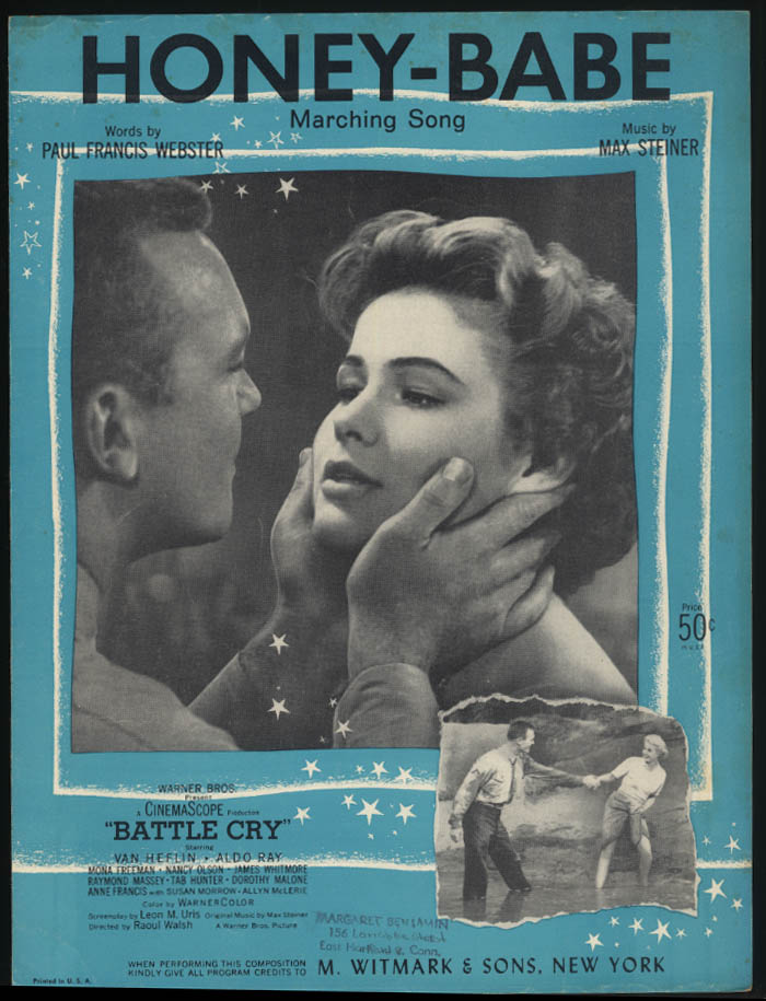 Webster & Steiner: Honey-Babe sheet music 1954 Mona Freeman in Battle Cry