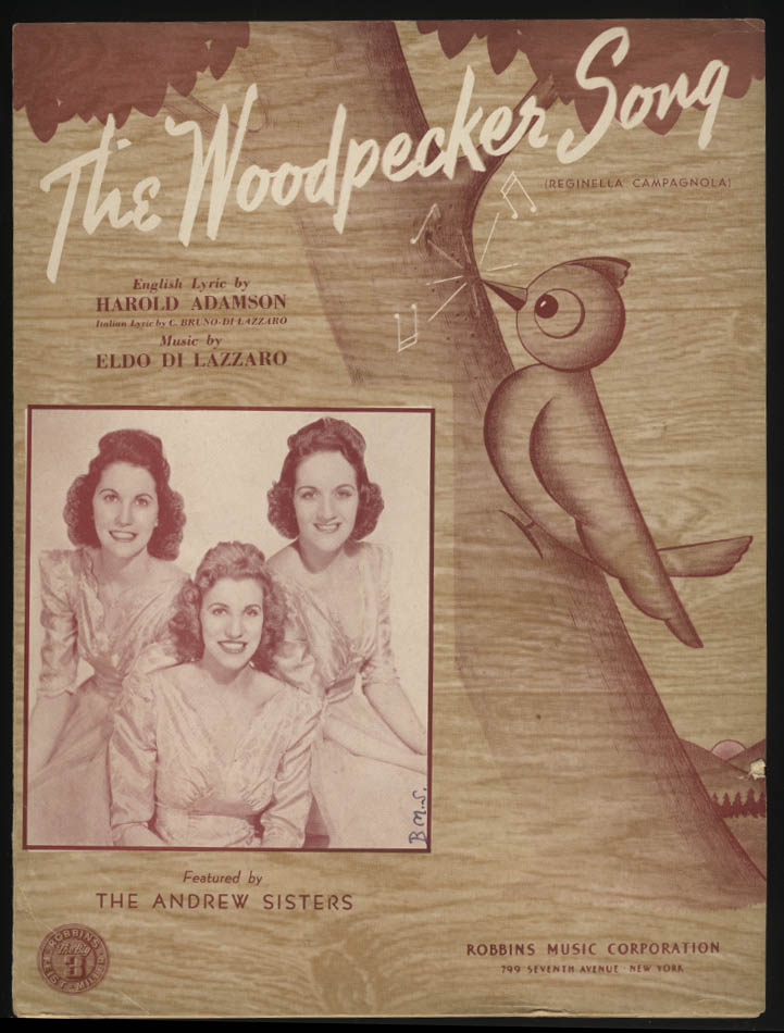 The Woodpecker Song sheet music 1940 The Andrews Sisters