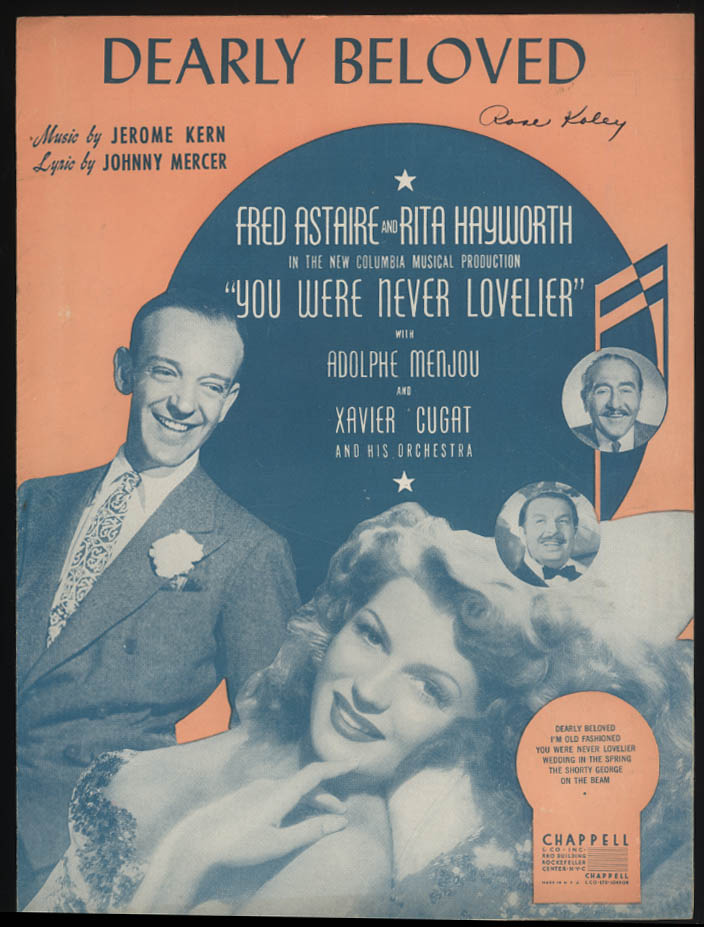 Dearly Beloved sheet music 1942 Astaire & Hayworth You Were Never Lovelier