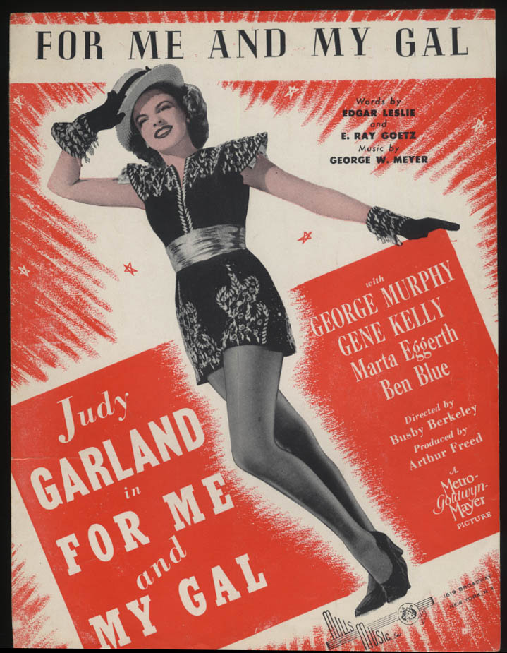 For Me and My Gal sheet music 1942 Judy Garland Gene Kelly