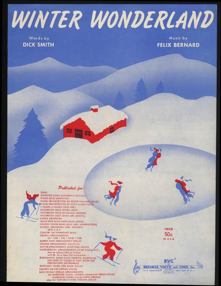 Smith & Bernard: Winter Wonderland sheet music 1934 1953
