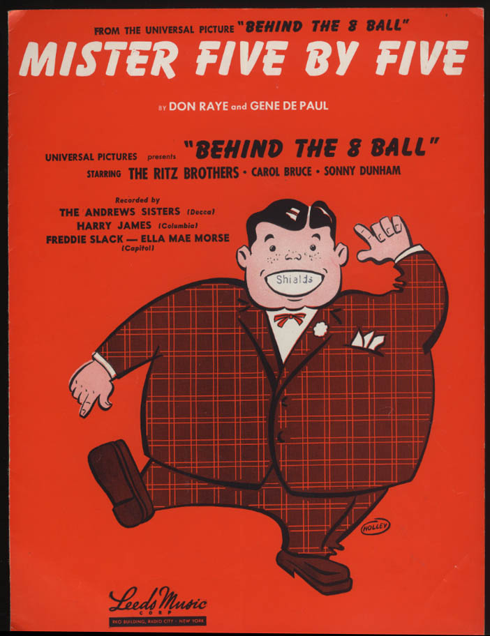Mister Five By Five sheet music 1942 from Behind the Eight Ball