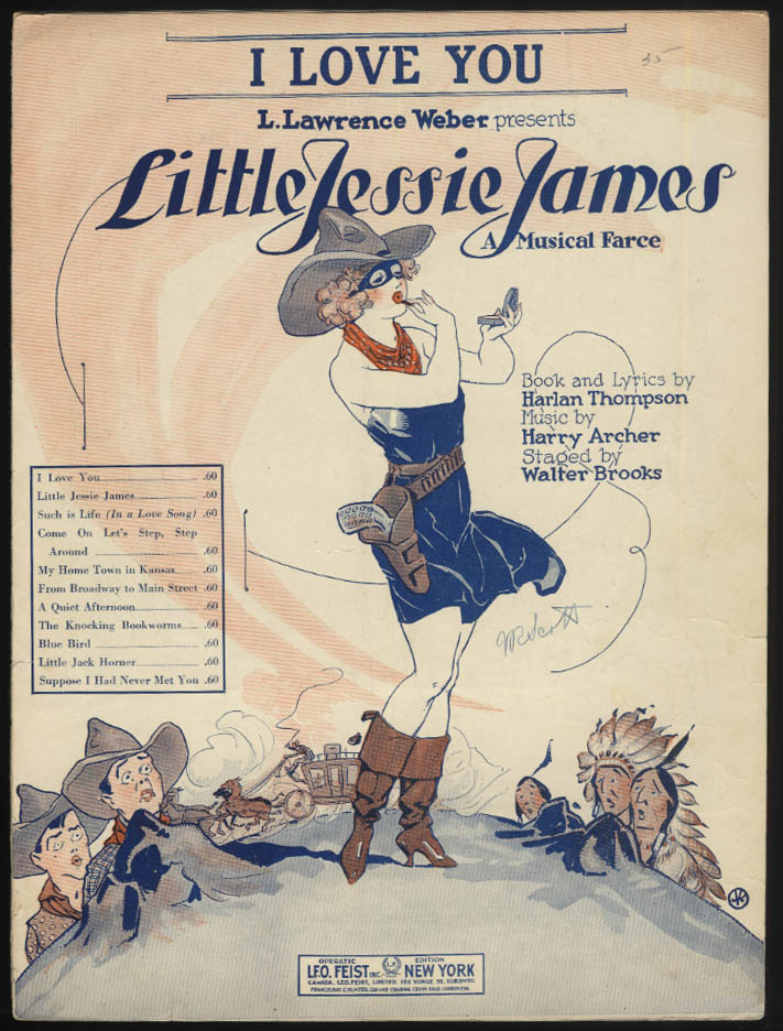 I Love You from Little Jessie James sheet music 1923 pretty girl mask boot gams