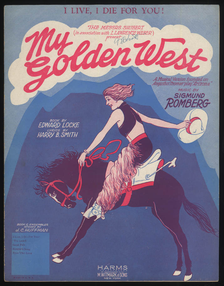 I Live I Die for You! from My Golden West sheet music 1927 girl on bucking bronc