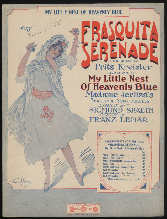 My Little Nest of Hevaenly Blue Frasquita Serenade sheet music 1927 Manning girl
