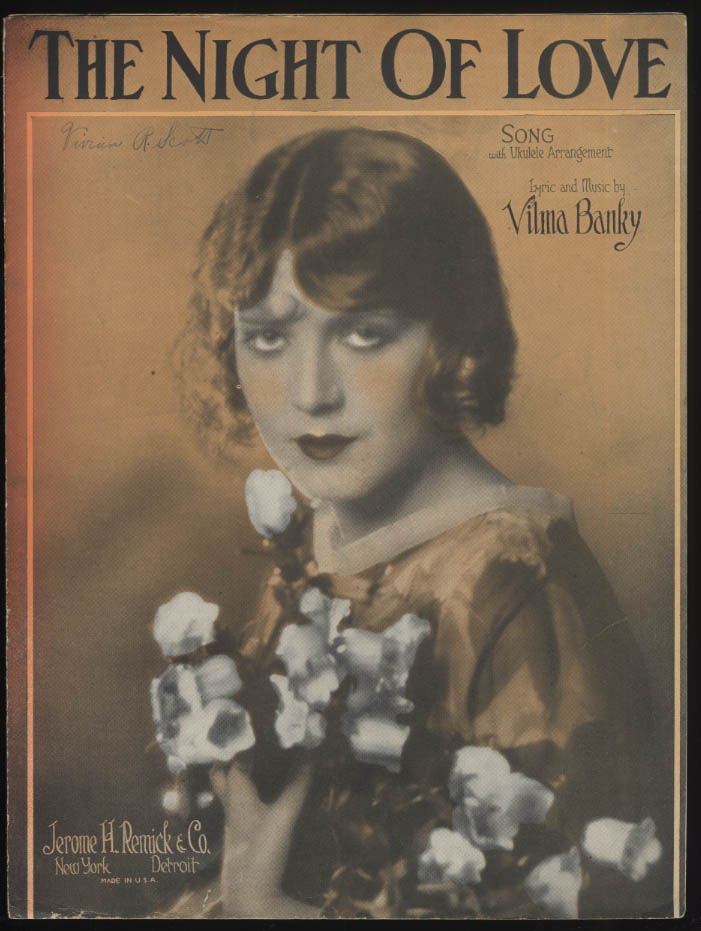 The Night of Love by Vilma Banky sheet music 1927
