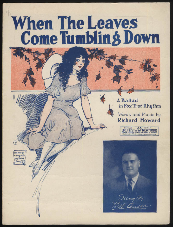 When The Leaves Come Tumbling Down sheet music 1922 pretty girl