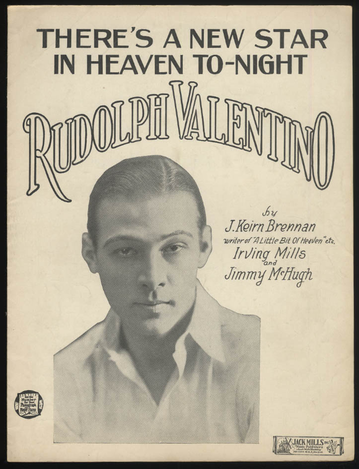 There's a New Star in Heaven To-Night Rudolph Valentino sheet music 1926