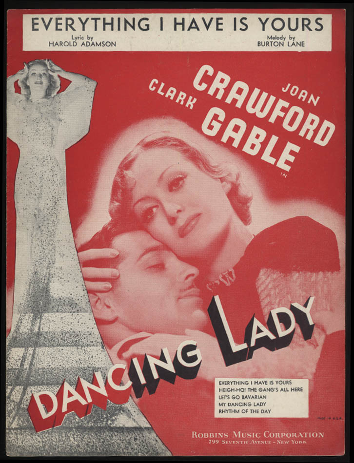 Everything I Have Is Yours sheet music 1933 Dancing Lady Gable & Crawford