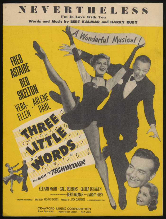 Nevertheless from Three Little Words sheet music 1931 Astaire Vera-Ellen Skelton