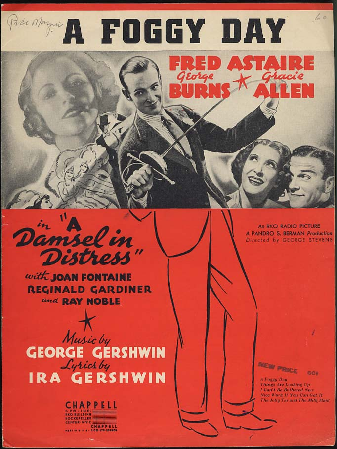 A Foggy Day sheet music for Damsel In Distress Fred Astaire Burns & Allen 1937